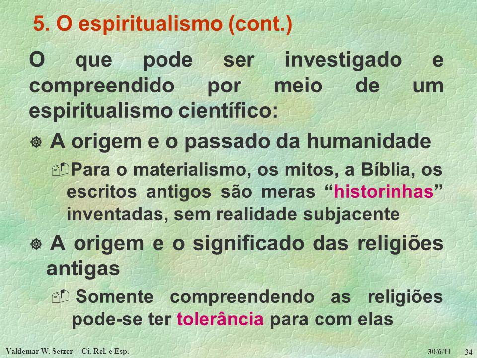 30/6/11 Valdemar W. Setzer – Ci. Rel. e Esp. 34 5. O espiritualismo (cont.) O que pode ser investigado e compreendido por meio de um espiritualismo ci