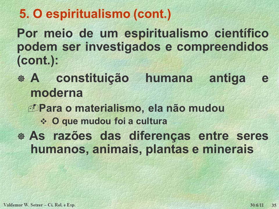 30/6/11 Valdemar W. Setzer – Ci. Rel. e Esp. 35 5. O espiritualismo (cont.) Por meio de um espiritualismo científico podem ser investigados e compreen