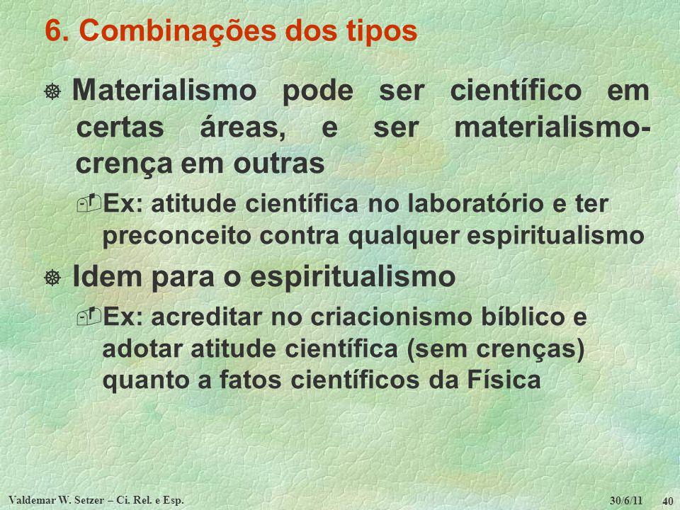30/6/11 Valdemar W. Setzer – Ci. Rel. e Esp. 40 6. Combinações dos tipos Materialismo pode ser científico em certas áreas, e ser materialismo- crença