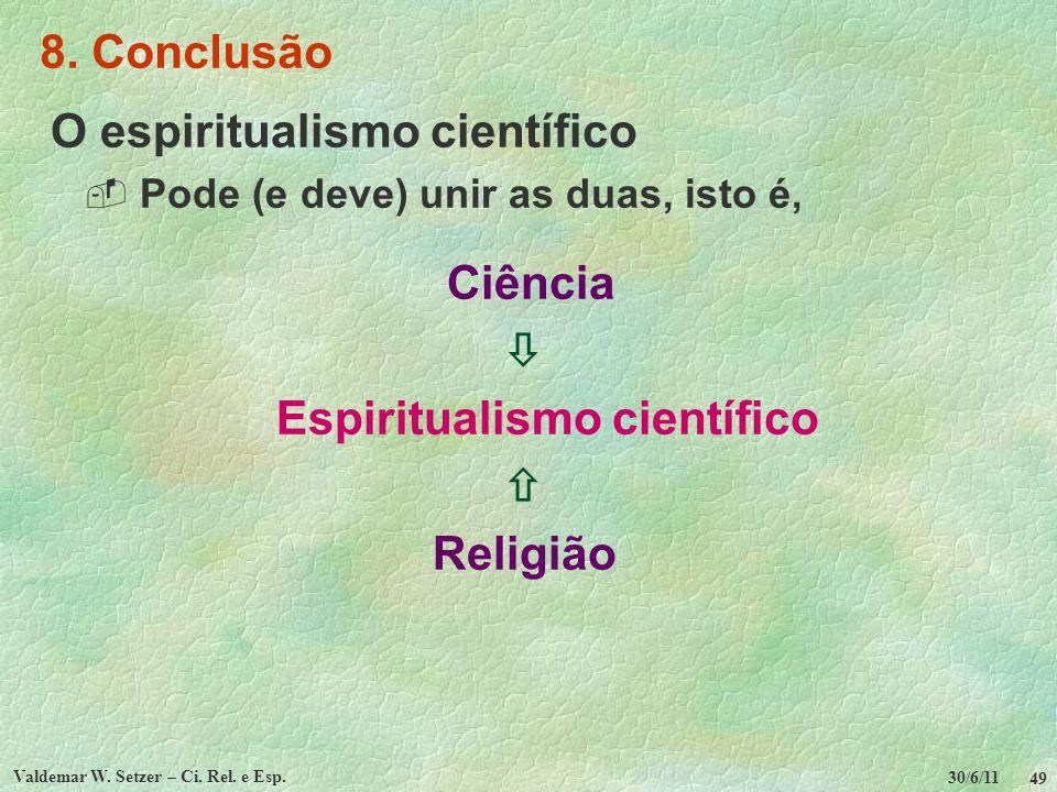 30/6/11 Valdemar W. Setzer – Ci. Rel. e Esp. 49 8. Conclusão O espiritualismo científico Pode (e deve) unir as duas, isto é, Ciência Espiritualismo ci