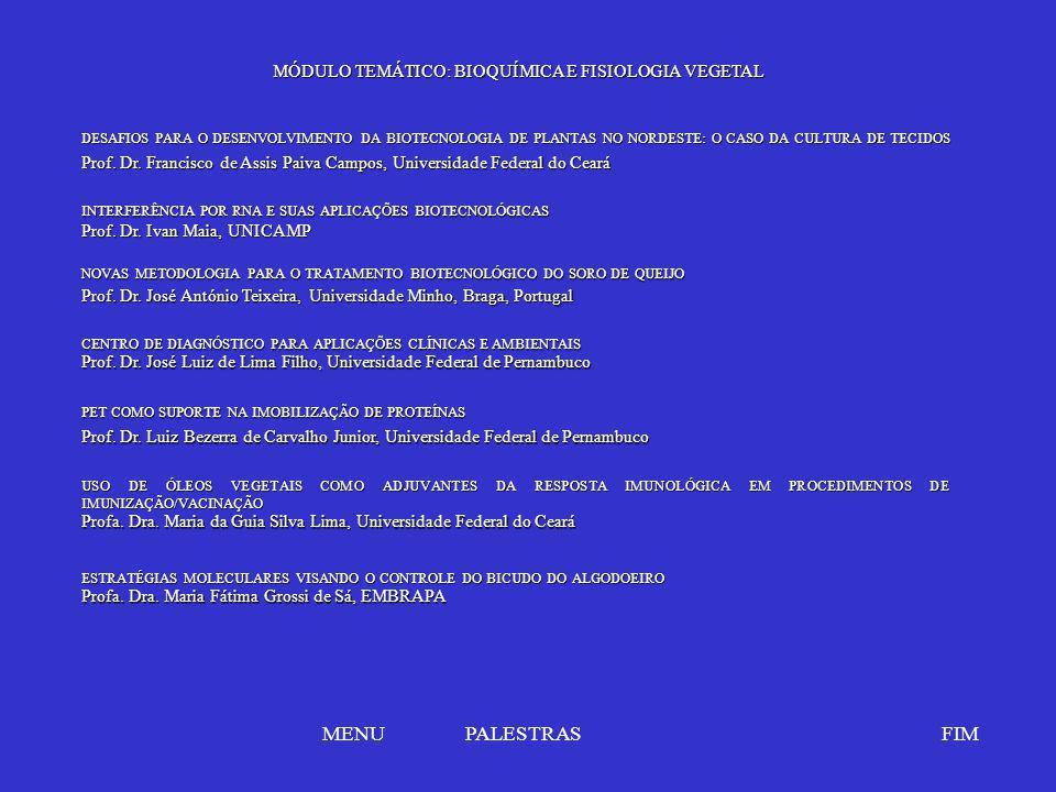 MÓDULO TEMÁTICO: BIOQUÍMICA E FISIOLOGIA VEGETAL NOVAS METODOLOGIA PARA O TRATAMENTO BIOTECNOLÓGICO DO SORO DE QUEIJO NOVAS METODOLOGIA PARA O TRATAME
