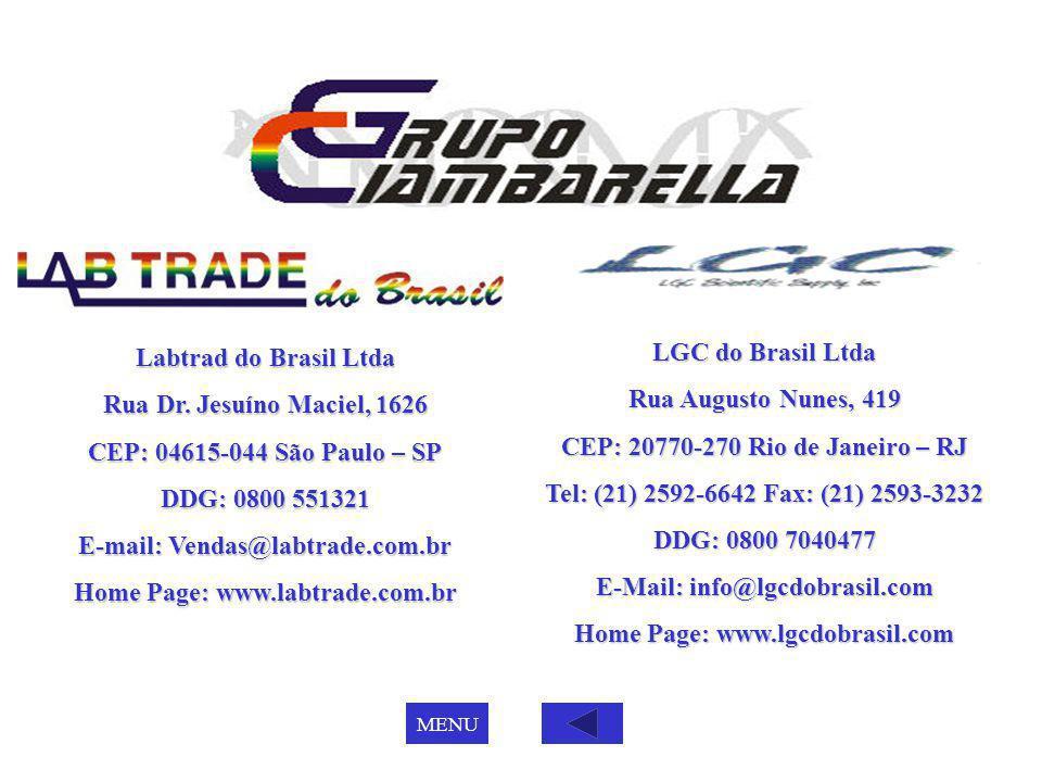 Labtrad do Brasil Ltda Rua Dr. Jesuíno Maciel, 1626 CEP: 04615-044 São Paulo – SP DDG: 0800 551321 E-mail: Vendas@labtrade.com.br Home Page: www.labtr
