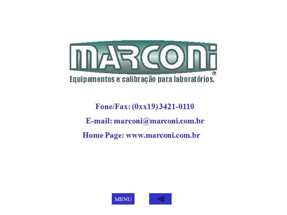 Fone/Fax: (0xx19) 3421-0110 E-mail: marconi@marconi.com.br Home Page: www.marconi.com.br Home Page: www.marconi.com.br MENU