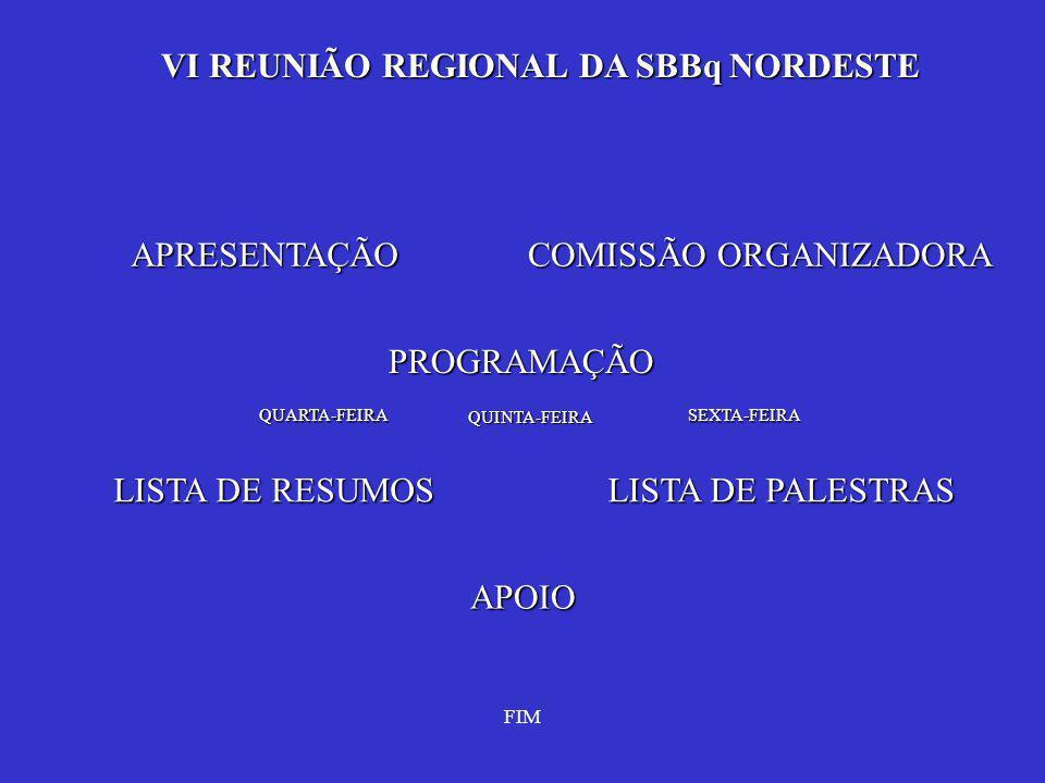 VI REUNIÃO REGIONAL DA SBBq NORDESTE APRESENTAÇÃO LISTA DE RESUMOS LISTA DE RESUMOS LISTA DE PALESTRAS LISTA DE PALESTRAS APOIO COMISSÃO ORGANIZADORA