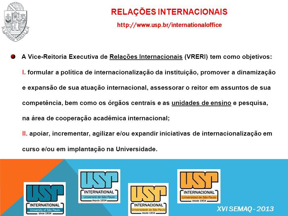 VICE-REITORIA EXECUTIVA DE RELAÇÕES INTERNACIONAIS (VRERI) http://www.usp.br/internationaloffice Vice-Reitor Executivo de Relações Internacionais: Prof.