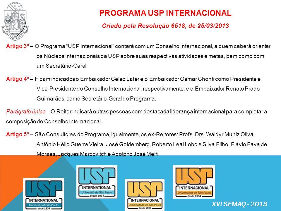 PROGRAMA USP INTERNACIONAL Criado pela Resolução 6518, de 25/03/2013, com os seguintes objetivos: I.