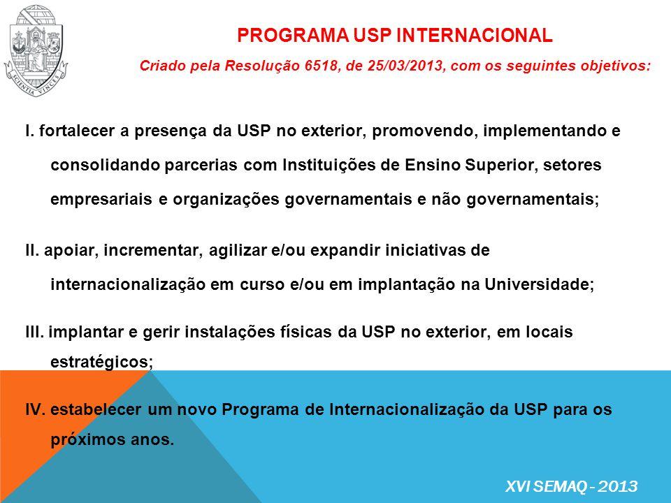 Programa de Bolsas para Professores Visitantes Internacionais na USP (Resolução nº 6519/2013); Programa de Incentivo e Apoio à Capacitação dos Servidores Técnicos e Administrativos da USP, no exterior (Resolução nº 6520/2013); Programa de Bolsas de Intercâmbio Internacional para os Alunos de Graduação da USP (Portaria GR nº 6087/2013); Programa de Bolsas USP – América Latina de Mobilidade Internacional para alunos de graduação de Instituições de Ensino Superior (IES) da América Latina, na USP (Portaria GR nº 6114/2013); Convênios bilaterais e multilaterais e demais acordos internacionais de interesse geral da Universidade.