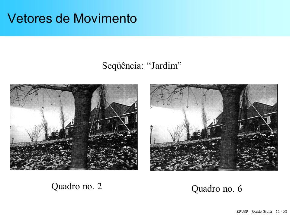 EPUSP - Guido Stolfi 11 / 58 Vetores de Movimento Quadro no. 2 Quadro no. 6 Seqüência: Jardim