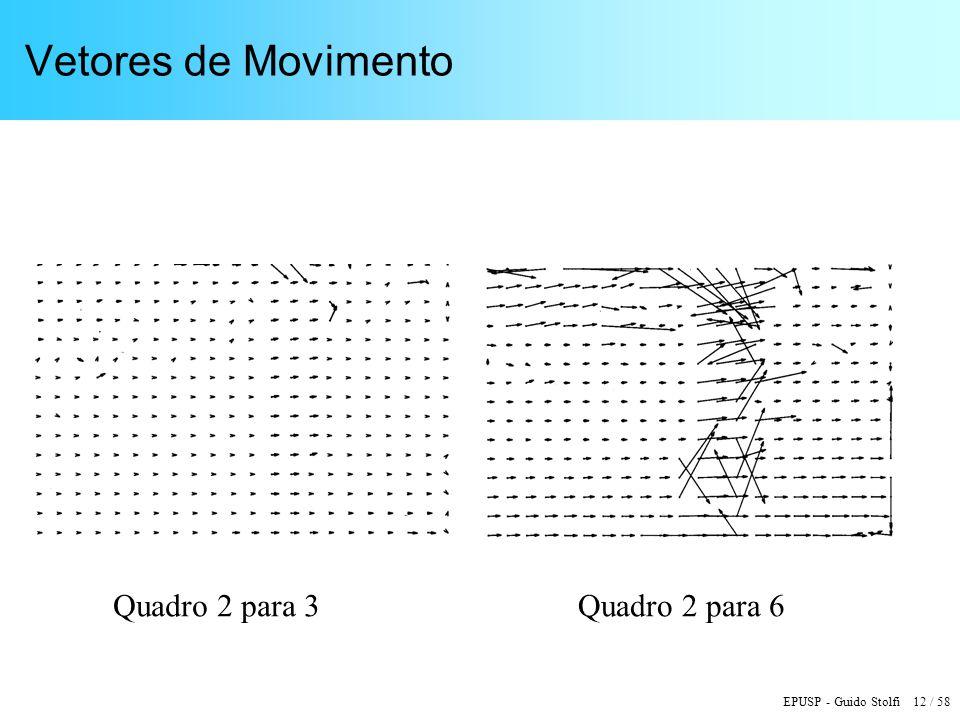 EPUSP - Guido Stolfi 12 / 58 Vetores de Movimento Quadro 2 para 3Quadro 2 para 6