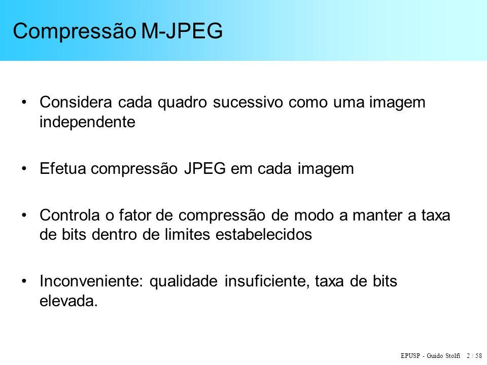 EPUSP - Guido Stolfi 2 / 58 Compressão M-JPEG Considera cada quadro sucessivo como uma imagem independente Efetua compressão JPEG em cada imagem Controla o fator de compressão de modo a manter a taxa de bits dentro de limites estabelecidos Inconveniente: qualidade insuficiente, taxa de bits elevada.