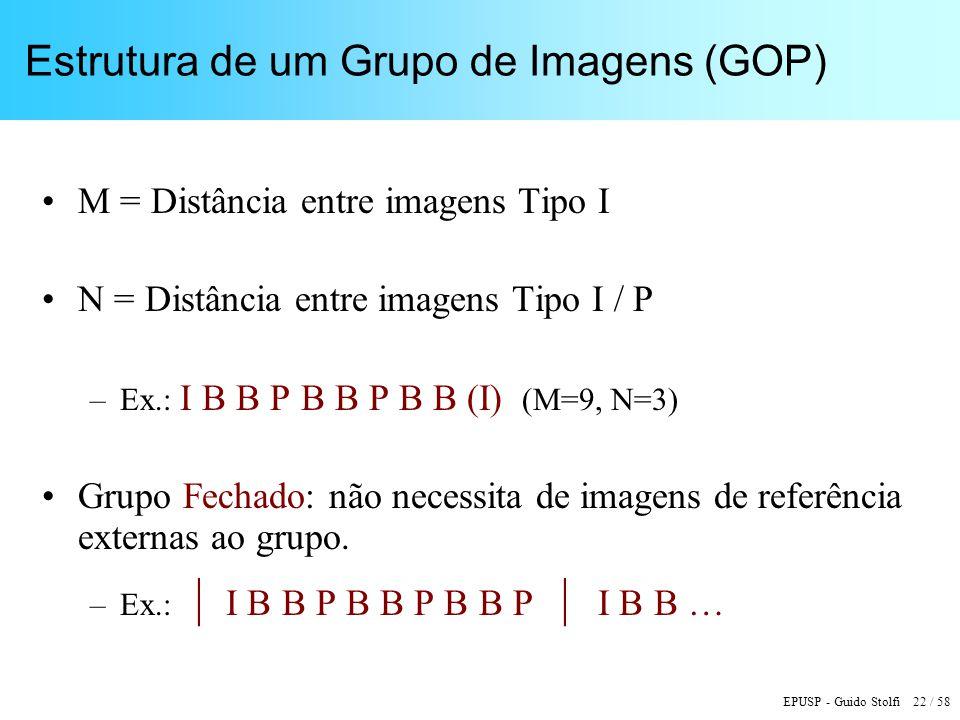 EPUSP - Guido Stolfi 22 / 58 Estrutura de um Grupo de Imagens (GOP) M = Distância entre imagens Tipo I N = Distância entre imagens Tipo I / P –Ex.: I B B P B B P B B (I) (M=9, N=3) Grupo Fechado: não necessita de imagens de referência externas ao grupo.