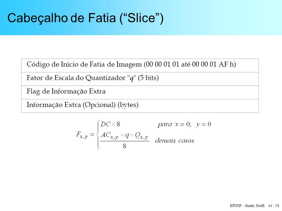 EPUSP - Guido Stolfi 44 / 58 Cabeçalho de Fatia (Slice) Código de Início de Fatia de Imagem (00 00 01 01 até 00 00 01 AF h) Fator de Escala do Quantizador q (5 bits) Flag de Informação Extra Informação Extra (Opcional) (bytes)
