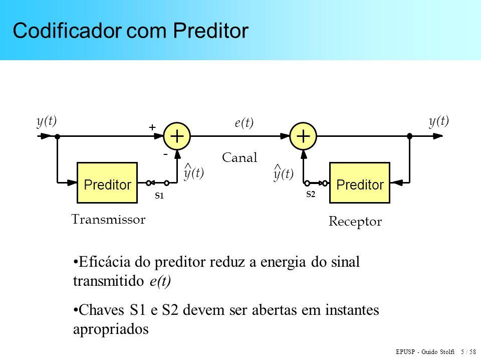 EPUSP - Guido Stolfi 5 / 58 Codificador com Preditor Preditor y(t) ^ ^ e(t) + - Transmissor Receptor Canal S1 S2 Eficácia do preditor reduz a energia do sinal transmitido e(t) Chaves S1 e S2 devem ser abertas em instantes apropriados