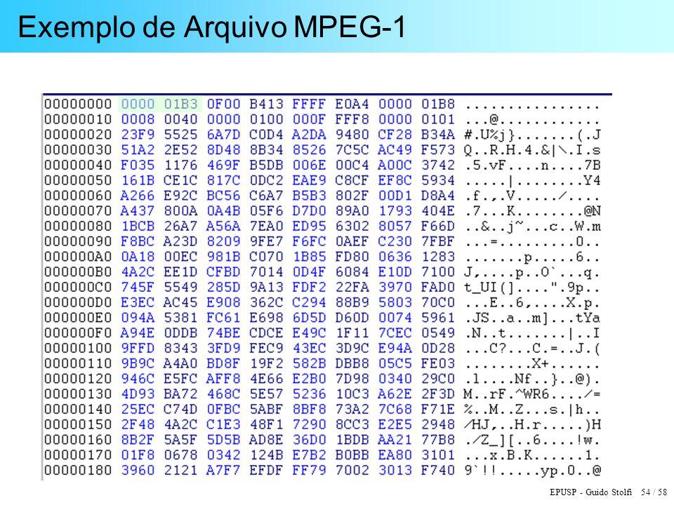 EPUSP - Guido Stolfi 54 / 58 Exemplo de Arquivo MPEG-1