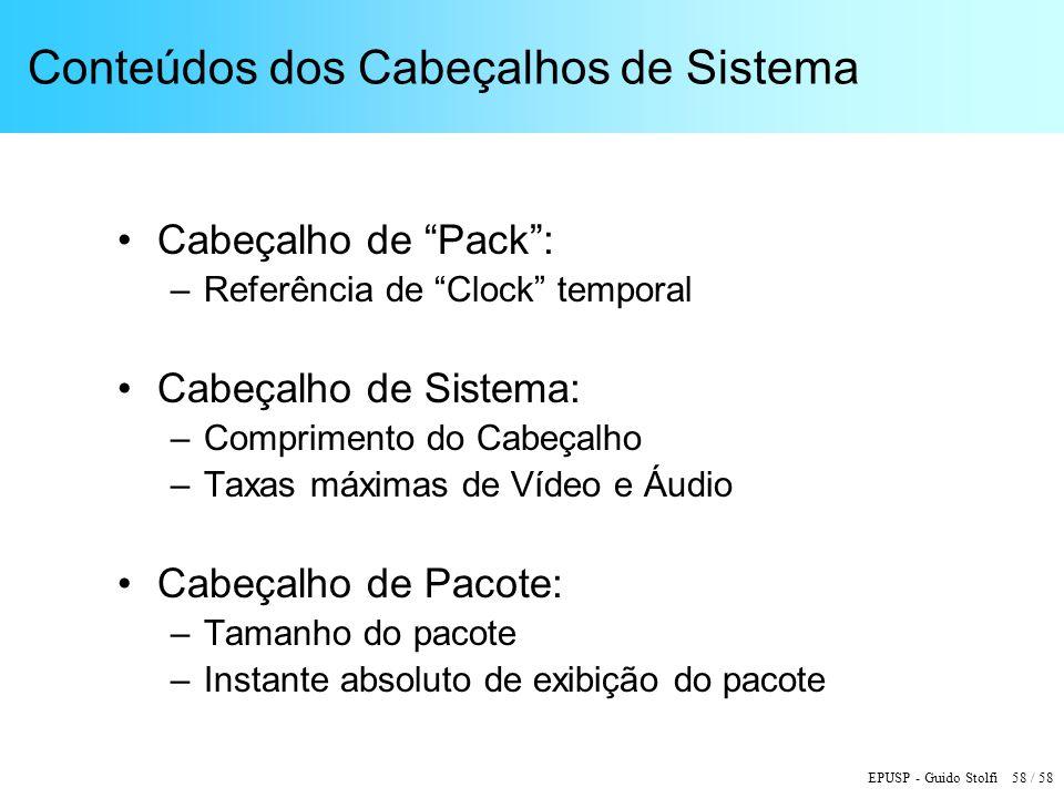 EPUSP - Guido Stolfi 58 / 58 Conteúdos dos Cabeçalhos de Sistema Cabeçalho de Pack: –Referência de Clock temporal Cabeçalho de Sistema: –Comprimento do Cabeçalho –Taxas máximas de Vídeo e Áudio Cabeçalho de Pacote: –Tamanho do pacote –Instante absoluto de exibição do pacote