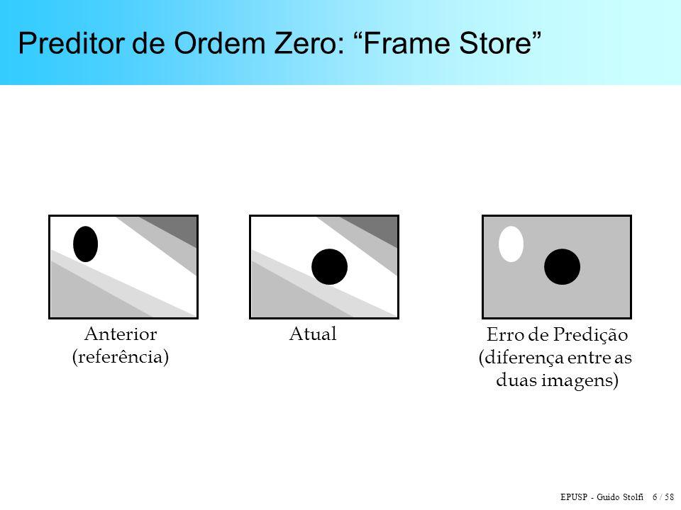 EPUSP - Guido Stolfi 6 / 58 Preditor de Ordem Zero: Frame Store AnteriorAtual Erro de Predição (diferença entre as duas imagens) (referência)