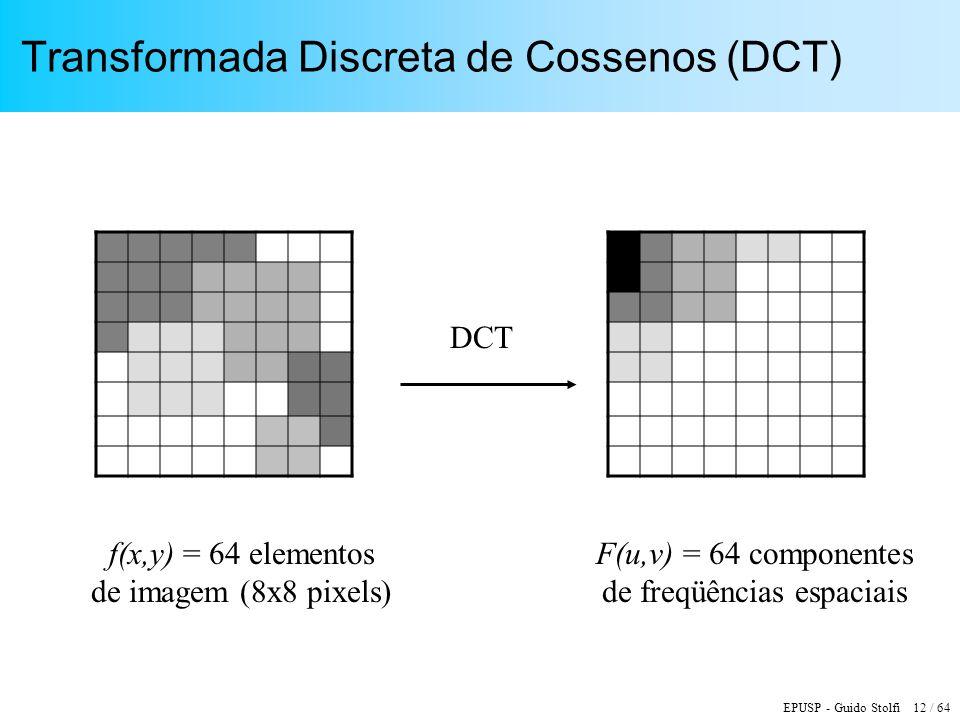 EPUSP - Guido Stolfi 12 / 64 Transformada Discreta de Cossenos (DCT) DCT f(x,y) = 64 elementos de imagem (8x8 pixels) F(u,v) = 64 componentes de freqü