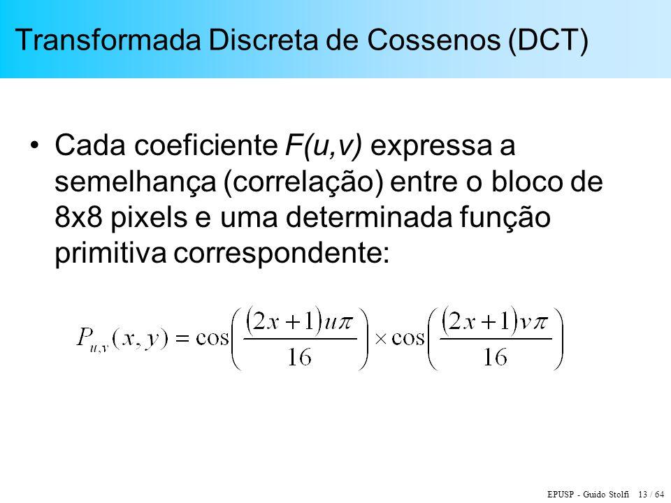EPUSP - Guido Stolfi 13 / 64 Transformada Discreta de Cossenos (DCT) Cada coeficiente F(u,v) expressa a semelhança (correlação) entre o bloco de 8x8 p