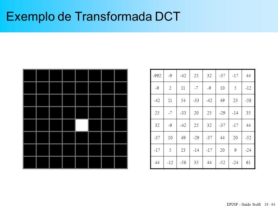 EPUSP - Guido Stolfi 19 / 64 Exemplo de Transformada DCT -992-9-422532-37-1744 -9211-7-9105-12 -421154-33-424923-58 25-7-332025-29-1435 32-9-422532-37