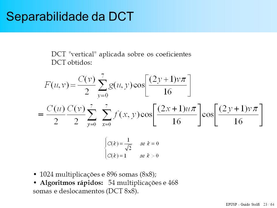 EPUSP - Guido Stolfi 23 / 64 Separabilidade da DCT DCT