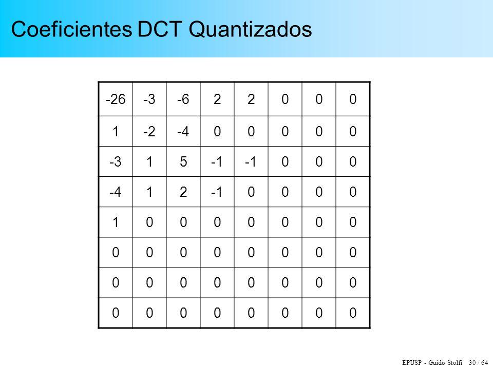 EPUSP - Guido Stolfi 30 / 64 Coeficientes DCT Quantizados -26-3-622000 1-2-400000 -315 000 -4120000 10000000 00000000 00000000 00000000