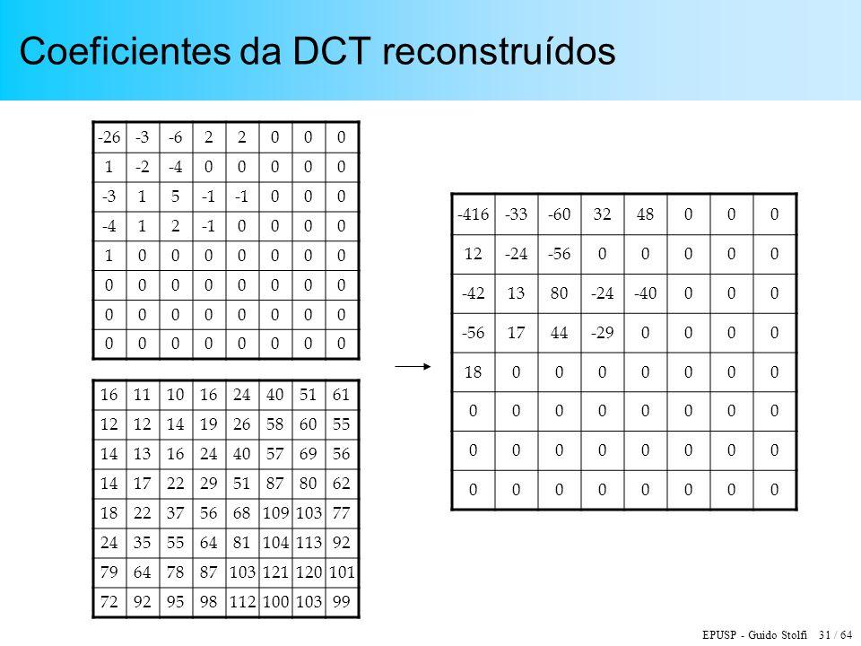 EPUSP - Guido Stolfi 31 / 64 Coeficientes da DCT reconstruídos 1611101624405161 12 141926586055 1413162440576956 1417222951878062 182237566810910377 2
