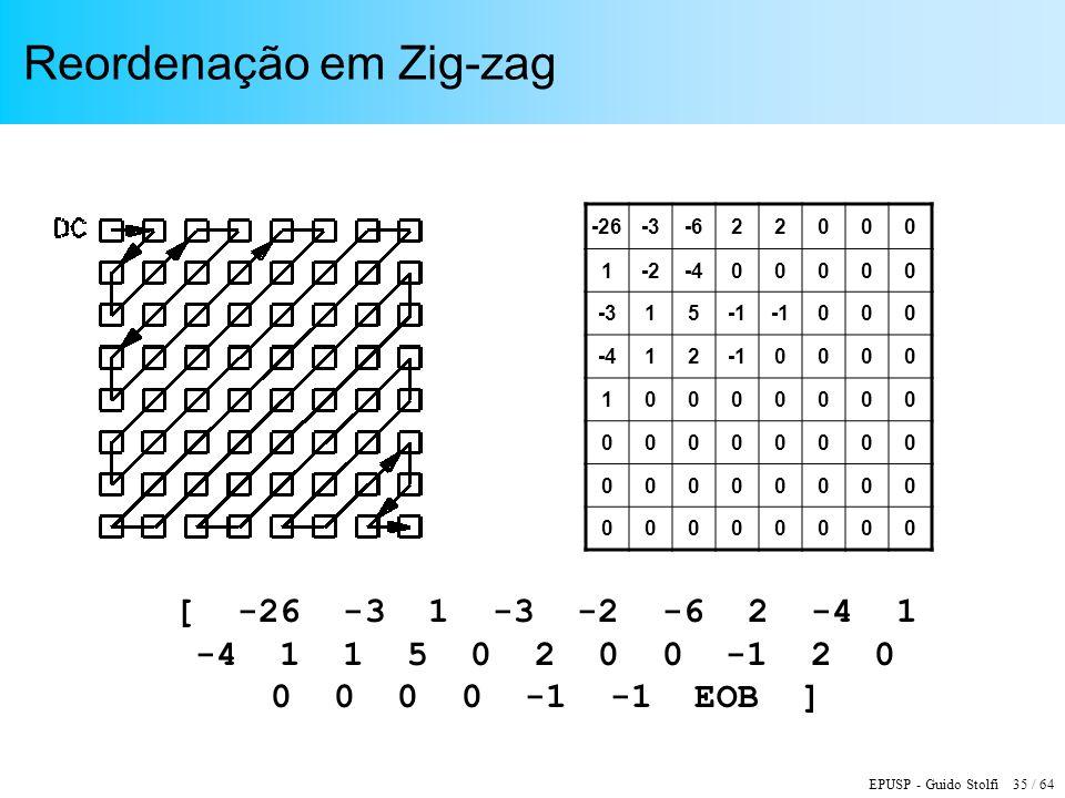 EPUSP - Guido Stolfi 35 / 64 Reordenação em Zig-zag [ -26 -3 1 -3 -2 -6 2 -4 1 -4 1 1 5 0 2 0 0 -1 2 0 0 0 0 0 -1 -1 EOB ] -26-3-622000 1-2-400000 -31
