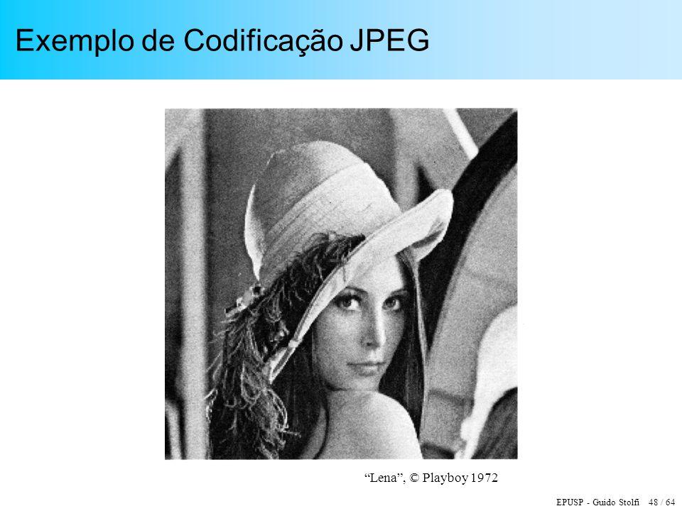 EPUSP - Guido Stolfi 48 / 64 Exemplo de Codificação JPEG Lena, © Playboy 1972
