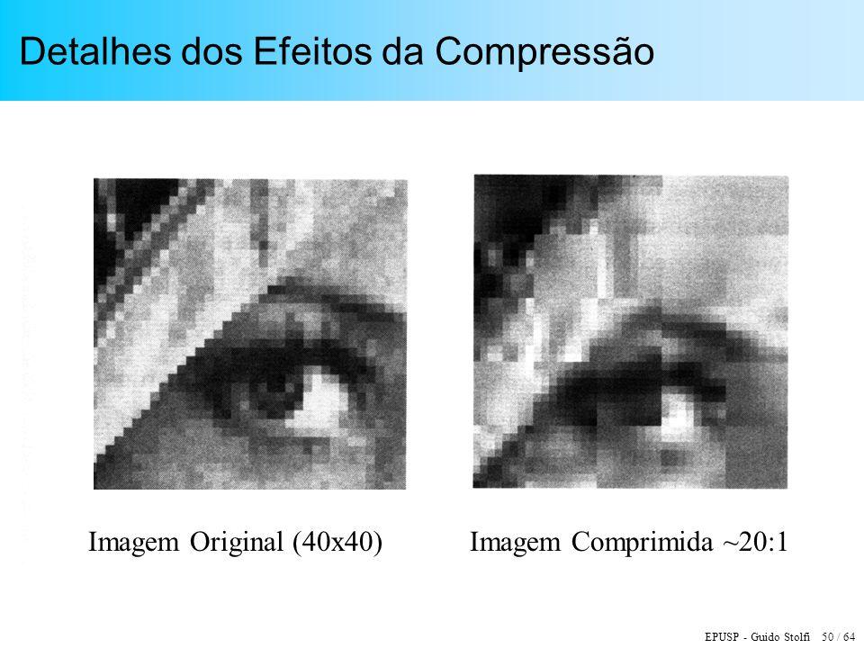 EPUSP - Guido Stolfi 50 / 64 Detalhes dos Efeitos da Compressão Imagem Original (40x40)Imagem Comprimida ~20:1