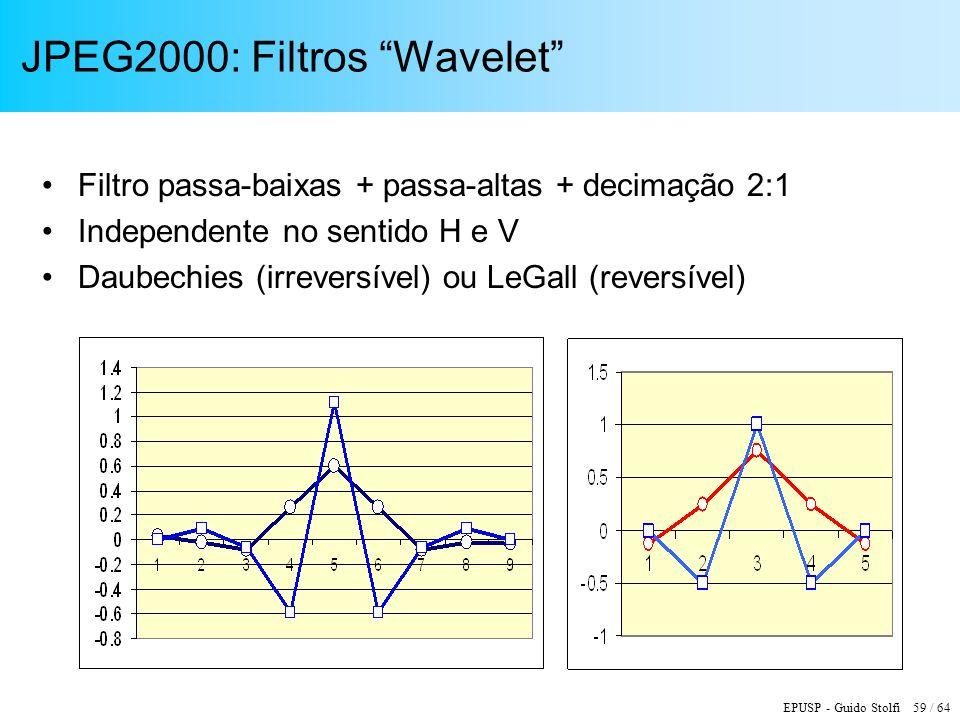 EPUSP - Guido Stolfi 59 / 64 JPEG2000: Filtros Wavelet Filtro passa-baixas + passa-altas + decimação 2:1 Independente no sentido H e V Daubechies (irr