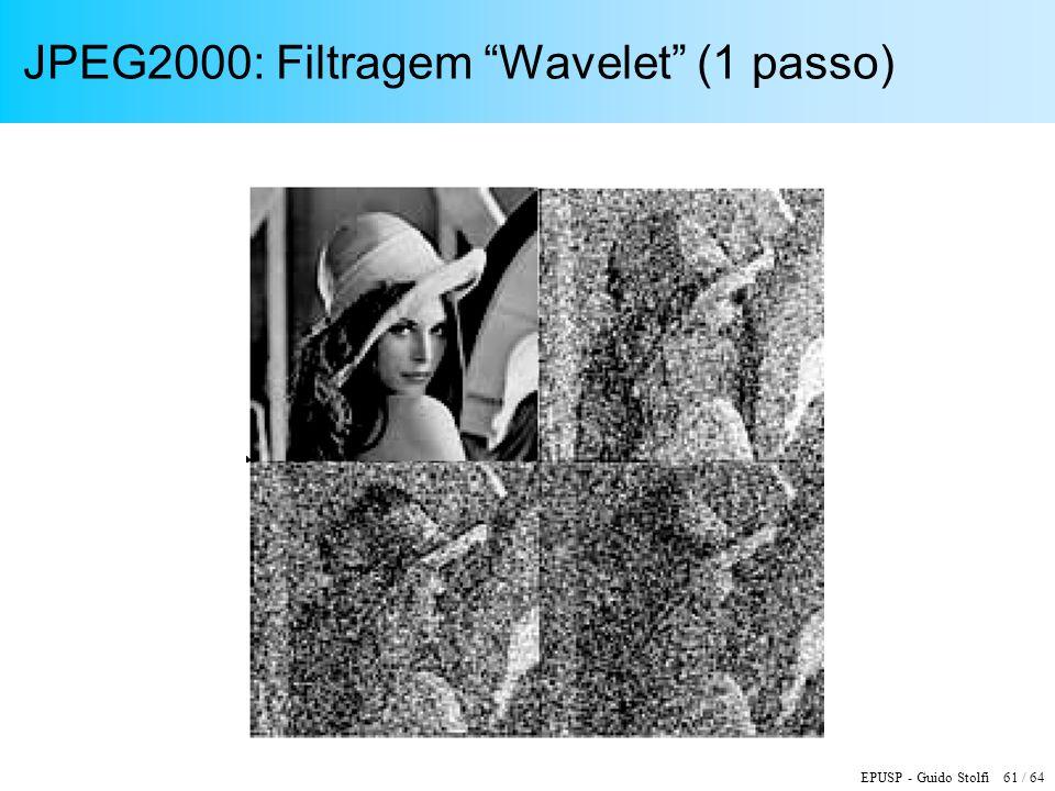 EPUSP - Guido Stolfi 61 / 64 JPEG2000: Filtragem Wavelet (1 passo)