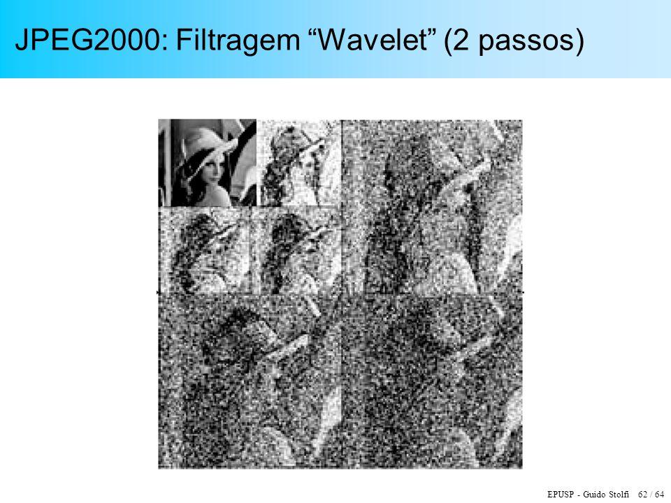 EPUSP - Guido Stolfi 62 / 64 JPEG2000: Filtragem Wavelet (2 passos)