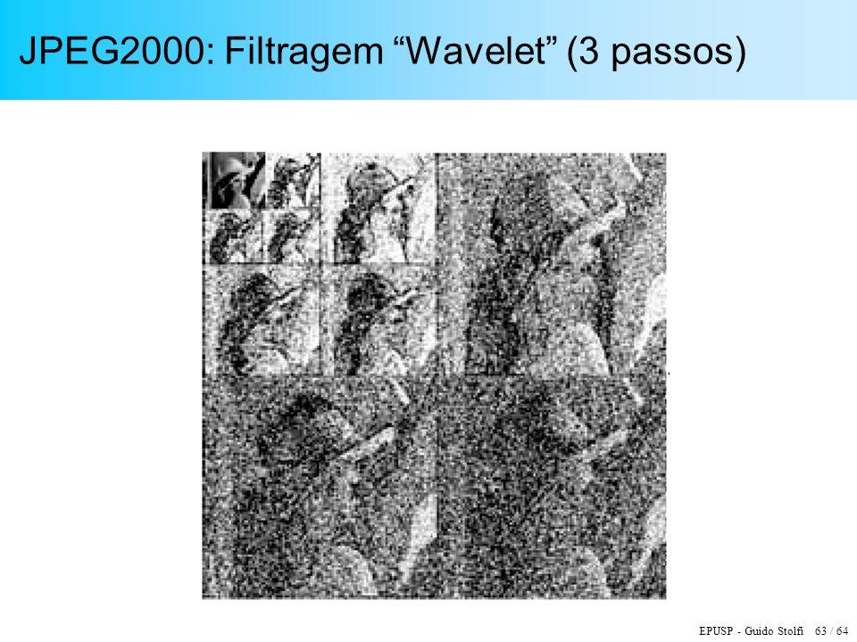 EPUSP - Guido Stolfi 63 / 64 JPEG2000: Filtragem Wavelet (3 passos)