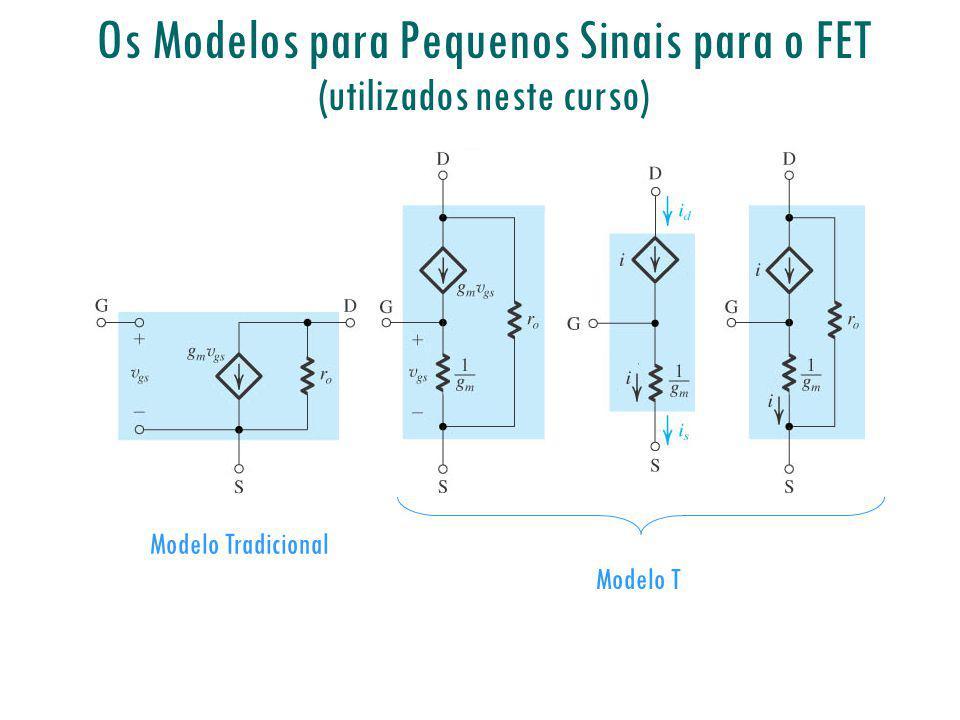 Os Modelos para Pequenos Sinais para o FET (utilizados neste curso) Modelo Tradicional Modelo T