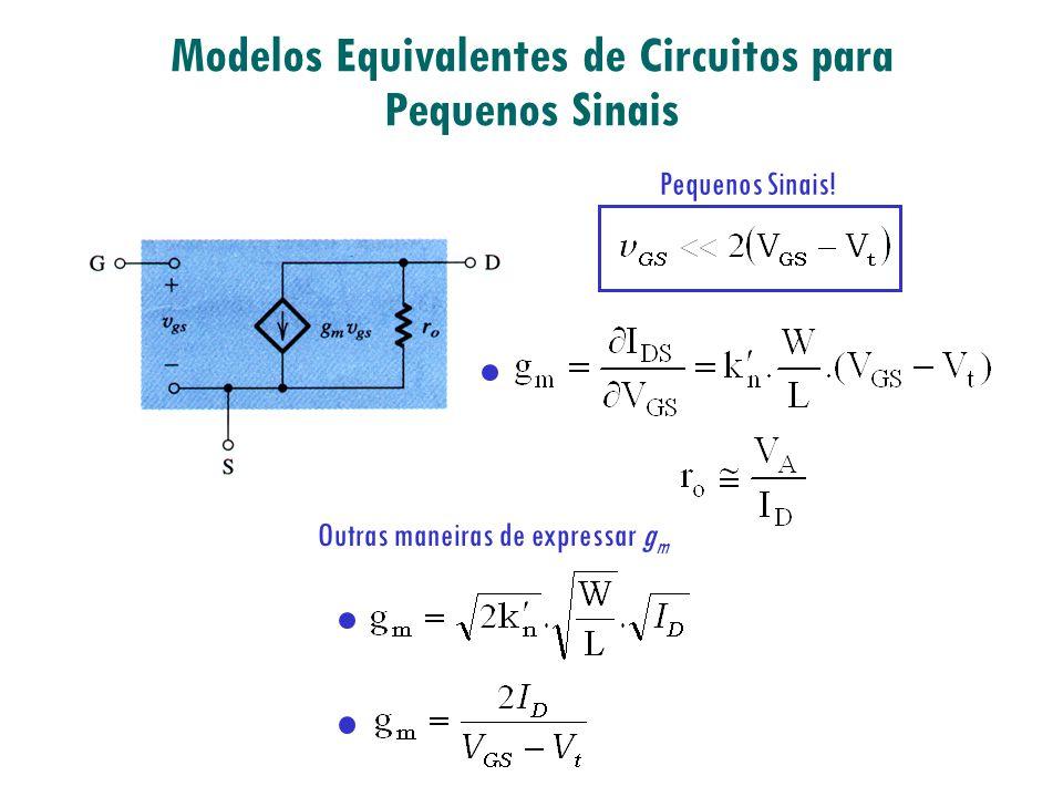 Modelos Equivalentes de Circuitos para Pequenos Sinais Pequenos Sinais! Outras maneiras de expressar g m