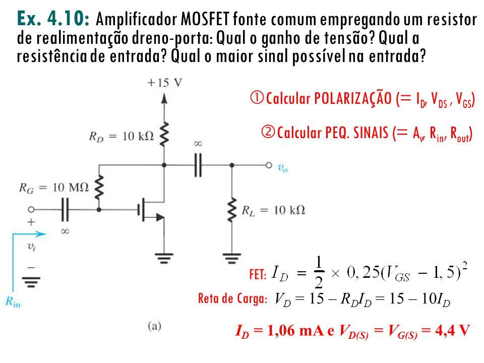 Ex. 4.10: Amplificador MOSFET fonte comum empregando um resistor de realimentação dreno-porta: Qual o ganho de tensão? Qual a resistência de entrada?