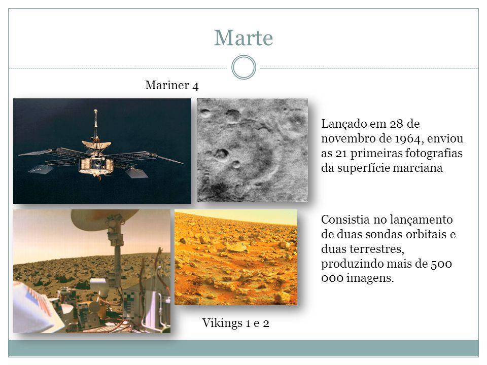 Marte Mariner 4 Lançado em 28 de novembro de 1964, enviou as 21 primeiras fotografias da superfície marciana Vikings 1 e 2 Consistia no lançamento de