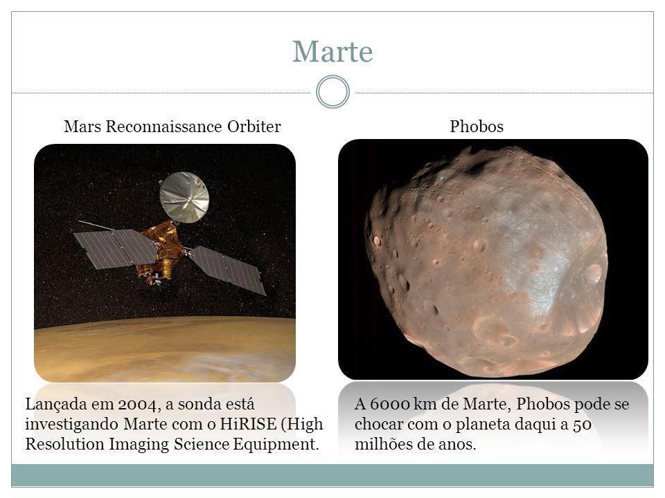Marte Mars Reconnaissance OrbiterPhobos A 6000 km de Marte, Phobos pode se chocar com o planeta daqui a 50 milhões de anos. Lançada em 2004, a sonda e
