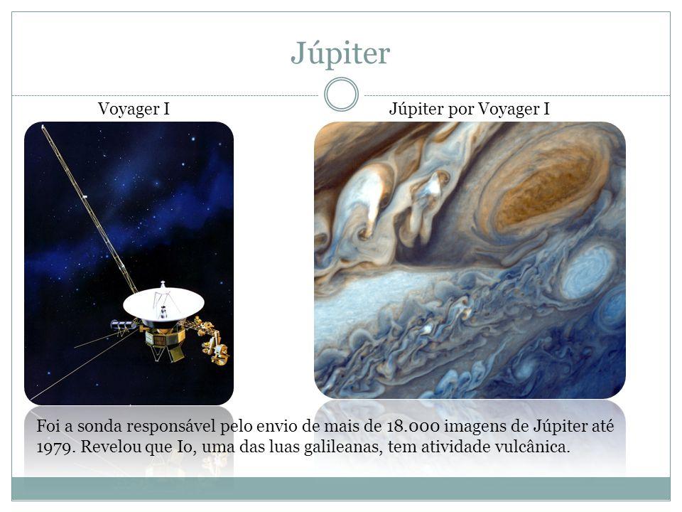 Júpiter Voyager IJúpiter por Voyager I Foi a sonda responsável pelo envio de mais de 18.000 imagens de Júpiter até 1979. Revelou que Io, uma das luas