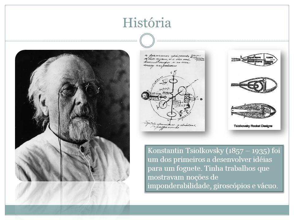 História Konstantin Tsiolkovsky (1857 – 1935) foi um dos primeiros a desenvolver idéias para um foguete. Tinha trabalhos que mostravam noções de impon