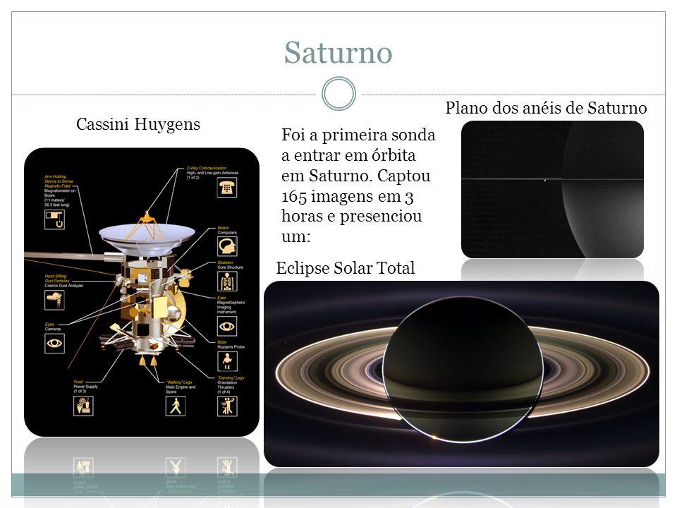 Saturno Cassini Huygens Plano dos anéis de Saturno Eclipse Solar Total Foi a primeira sonda a entrar em órbita em Saturno. Captou 165 imagens em 3 hor