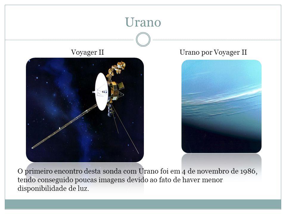 Urano Voyager IIUrano por Voyager II O primeiro encontro desta sonda com Urano foi em 4 de novembro de 1986, tendo conseguido poucas imagens devido ao fato de haver menor disponibilidade de luz.
