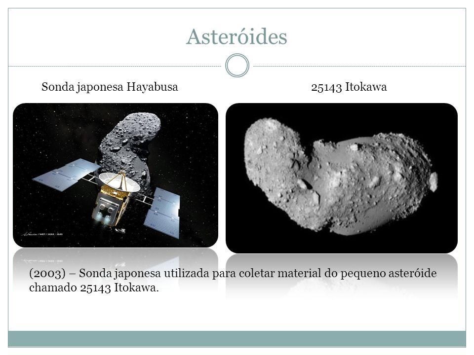 Asteróides 25143 ItokawaSonda japonesa Hayabusa (2003) – Sonda japonesa utilizada para coletar material do pequeno asteróide chamado 25143 Itokawa.