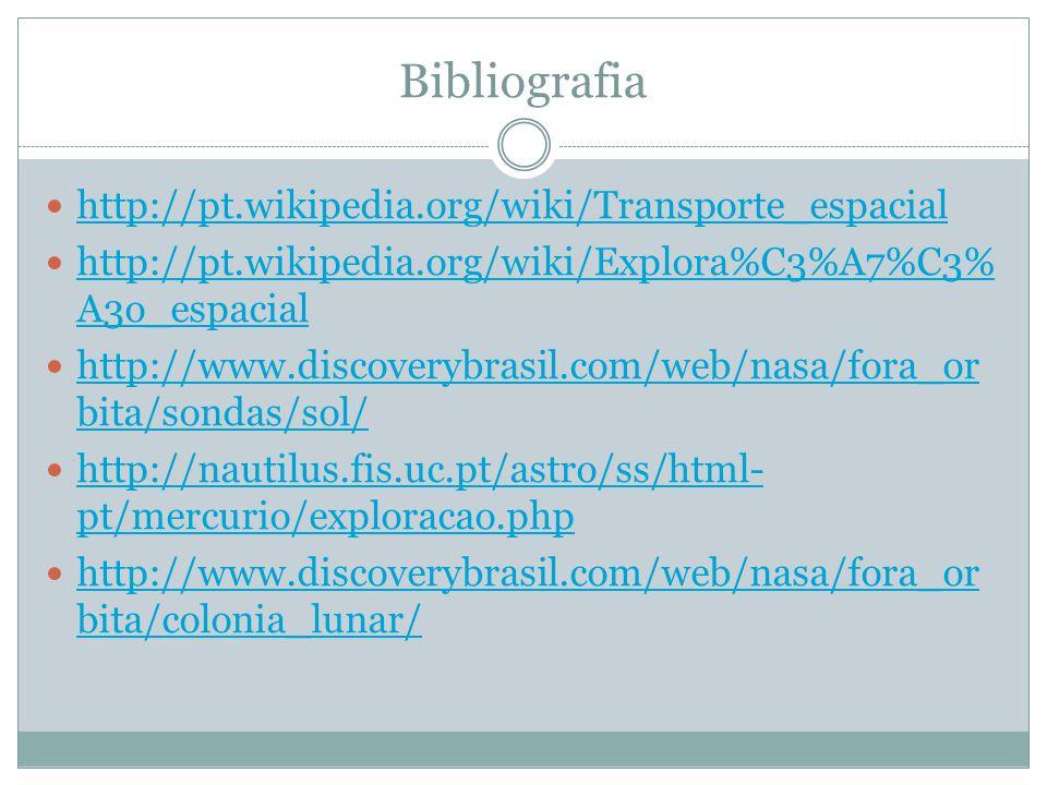 Bibliografia http://pt.wikipedia.org/wiki/Transporte_espacial http://pt.wikipedia.org/wiki/Explora%C3%A7%C3% A3o_espacial http://pt.wikipedia.org/wiki