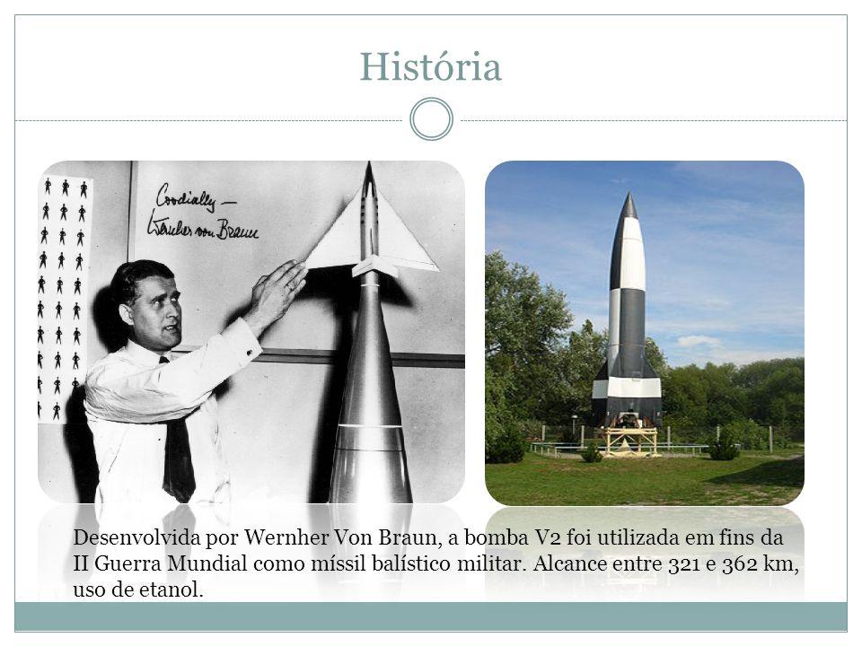 História Desenvolvida por Wernher Von Braun, a bomba V2 foi utilizada em fins da II Guerra Mundial como míssil balístico militar. Alcance entre 321 e