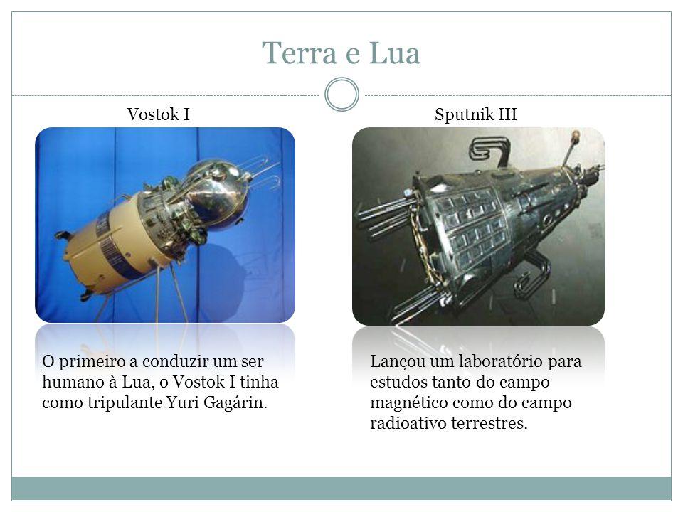 Terra e Lua Projeto Mercury Lançamento de uma cápsula com capacidade para três tripulantes e de manobras orbitais Apollo XI Lançou Neil Armstrong, Michael Collins e Edwin Aldrin à Lua em 20 de julho de 1969.