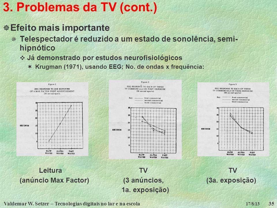 Valdemar W. Setzer – Tecnologias digitais no lar e na escola35 17/8/13 3. Problemas da TV (cont.) Efeito mais importante Telespectador é reduzido a um