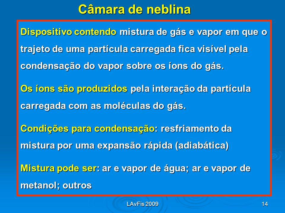 LAvFis 200914 Câmara de neblina Dispositivo contendo mistura de gás e vapor em que o trajeto de uma partícula carregada fica visível pela condensação