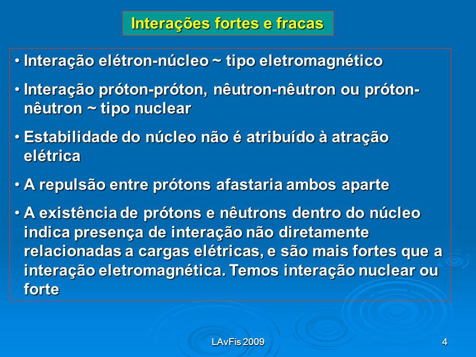 LAvFis 20094 Interações fortes e fracas Interação elétron-núcleo ~ tipo eletromagnéticoInteração elétron-núcleo ~ tipo eletromagnético Interação próto