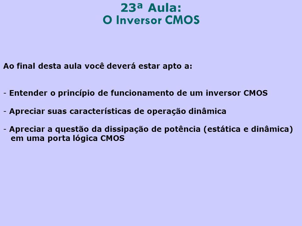 23ª Aula: O Inversor CMOS Ao final desta aula você deverá estar apto a: - Entender o princípio de funcionamento de um inversor CMOS - Apreciar suas características de operação dinâmica - Apreciar a questão da dissipação de potência (estática e dinâmica) em uma porta lógica CMOS